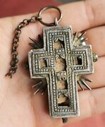Ancient Antique Bulgarian Orthodox Silver Encolpion Cross Carved Wood 18th