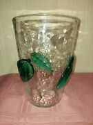 Vintage 7 Tall Blenko Crystal Crackle Glass Vase With Sea Green Leaves