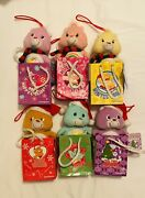 Six 2005 Care Bear 6 Plush Christmas Ornament In Gift Bags With Tags