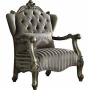 Traditional Style Velvet Upholstered Wooden Chair With Grey Americana