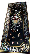 5and039x3and039 Marble Black Dining Table Top Marquetry Birds Inlay Floral Home Decor B547