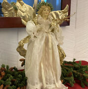 Vintage Porcelain Christmas Angel Tree Topper Old World Victorian Style 14
