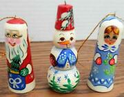 Set Of 3 Vintage 3 Christmas Tree Ornaments - Made In Russia - Santa Snowman