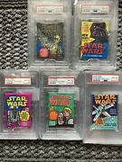 1977-78 Star Wars Topps Series 1-5 All Psa 8 Wax Pack Lot. Rare All 5 Are Psa 8
