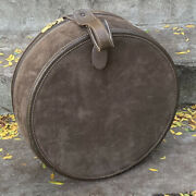 Rare Old French Company Brown Suede Large Round Hat Box Lv Makers Luggage