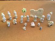 Precious Moments 18 Pc Painted Pewter Nativity Wall Animals Kings Angel 692794