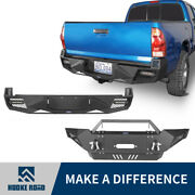 Fit 05-15 2nd Gen Toyota Tacoma Front Bumper+rear Bumper Combo W/winch Plate