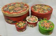 Folk Art Nesting Boxes Round Country Shaker Style Hand Painted Roses Set Of 5
