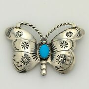 Vintage Signed Herbert Tsosie Sterling Stamped Turquoise Butterfly Brooch Pin