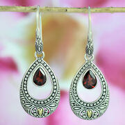 925 Sterling Silver And Garnet Earrings Adorned With 18k Gold
