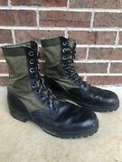 Vintage Military Green Canvas Black Leather Jungle Hot Weather Combat Boots Sz 9