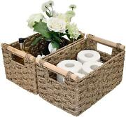 Hand-woven Storage Baskets With Wooden Handles