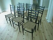 Rare Set Of Six Wooden Chairs In The Style Of Gio Ponti Cassina Italy-1950sandnbsp