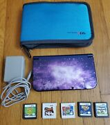 New Nintendo 3ds Xl Console Bundle Galaxy Purple System Compl W/ Games And Case-vg