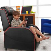 Kids Gaming Recliner Chair Black Red Pu Leather Seat Home Theater Game Armchair