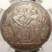 Switzerland Shooting Festival 1876 Lausanne Francs Silver Coin Antique Ngc