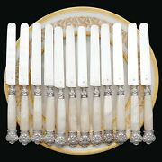 12 Antique French Sterling Silver Knives Carved Mother Of Pearl Handles Box Set