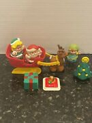 Fisher Price Little People Christmas Santa Sleigh Reindeer Gift Tree 97 And 98 Lot