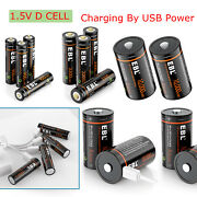 Lot 1.5v Li-ion / D Cell Size / Aa / Aaa / 3v 16340 Usb Rechargeable Batteries