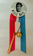 1960and039s Willie Mays Giants Stadium Pin/button With Ribbon And Charms
