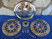 Mesh Cross Laced Pulley And Brake Rotors Parts For Harley 70 T 1 1/2 1984-99
