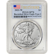 2021 W American Silver Eagle Burnished Type 2 - Pcgs Sp70 First Strike