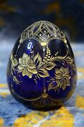 Large Faberge Cobalt Blue And Gilding Cut Crystal Glass Egg With Label Russia