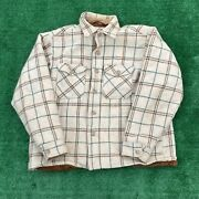 Vintage Woolrich Menand039s Brown And Cream 100 Wool Button Up Sherpa Lined Xl