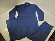 Vintage Sears Coveralls Jumpsuit Navy Blue Button Zipper Size 40t Made In Usa
