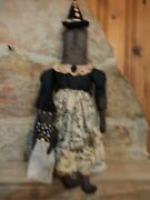 Handmade Primitive Halloween Momma And Baby Witch Dolls Folk Art Tolle Dress