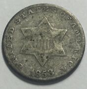1853 3 Cent Silver With Full Rims And Lines In Shield Clear/bold High Grade Type