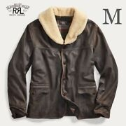 New Shearling Collar Leather Coat M 2020 Cowhide Jacket Brown Motorcycle Japan