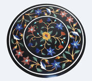 16 Black Round Marble Coffee Top Table Precious Lapis Marquetry Floral Art B718