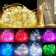 100pcs 8m Blue Led String Fairy Lights Battery Powered Copper Wire Party Decor