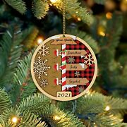 Personalized Family Christmas Ornaments 2021 Wood Xmas Ornament With Family Memb