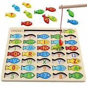 Magnetic Wooden Fishing Game Toy For Toddlers, Alphabet Fish Catching Counting