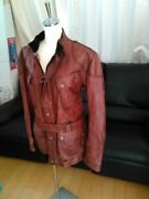 Belstaff Leather Jacket Blouson Size S Menand039s Motorcycle Red With Belt Rare Japan