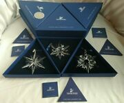 New 2005 And 2006 And 2007 Large Snowflake Annual Christmas Ornaments Lot