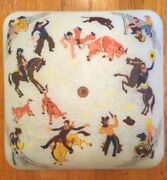 Vintage Glass Ceiling Light Shade Square Fixture 14 Western Cowboy Horse Rodeo