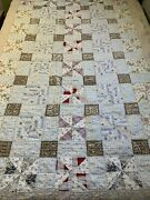 Vintage Cutter Quilt Pin Wheel 50x76 Hand Quilted Great Old Fabric Thin