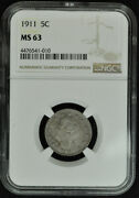 1911 Liberty Nickel - V Nickel - Ngc Ms63 - Type 2, With Cents