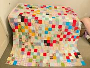 Vintage Quilt Top Postage Stamp Squares Hand Stitched Piecework Queen 80 X 90