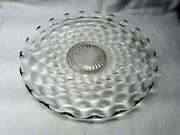 Vtg Fostoria American Clear Glass Serving Plate Large Round Cake 13.5 Cubist