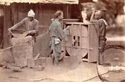 Albumen Image C1880and039s Japan Men Working Rice Mill Farm Village Life Tools Occup.