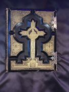 Antique Vtg Holy Catholic Bible Douay And Rheims 1800and039s .22 Kt Gold Gilt Leather