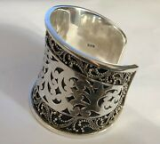 Lois Hill Big Cuff Bracelet With Scroll Floral Filigree And Cutout In Sterling 925