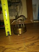 Vintage Rotating Cranes Music Box On Stand Brass 6 1/2
