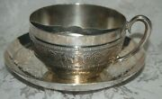 Tufts Quadruple Silver Plate Mustache Cup And Saucer Pattern 1353 Strawberries