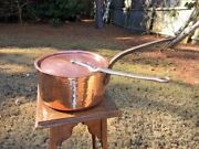 Antique 9.5 French Bourgeat 3mm Hammered Copper Sauce Pan W/lid Very Good Tin