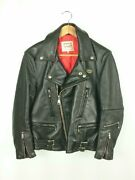 Lewis Leathers Lightning Double Riders Jacket Size 34 Cowhide Black Motorcycle